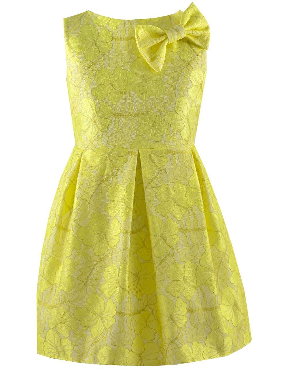 60a68d1c65 Żółta sukienka z kokardką - EMMA Polska Marka Odzieży Dziecięcej