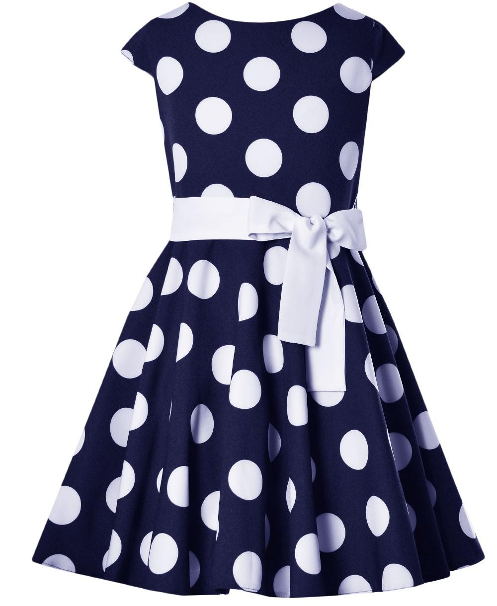 Sukienka w duże, białe grochy Lucyna