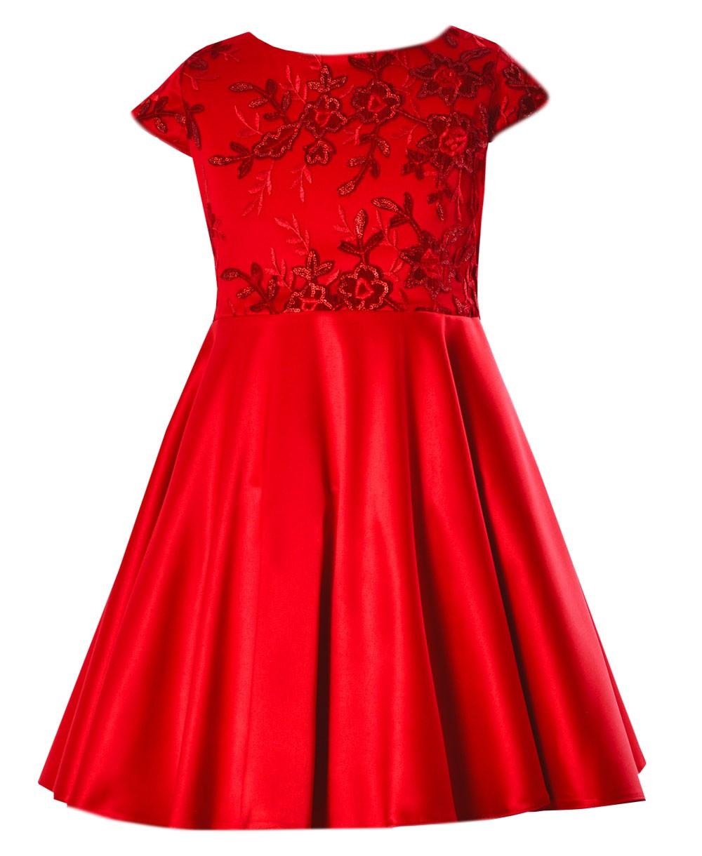 bbf92943ddf5be emma sukienka dla dziewczynki na wesele, przyjecie , wizytowa , swiateczna  , czerwona4
