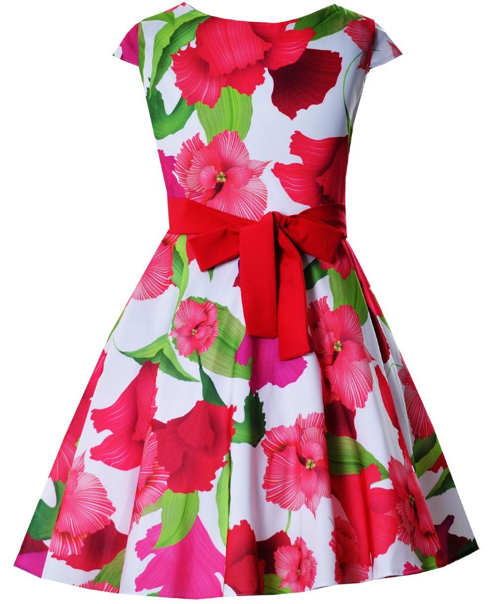 ccd6c0c03d Sukienka Alyssa czerwone kwiaty - EMMA Polska Marka Odzieży Dziecięcej